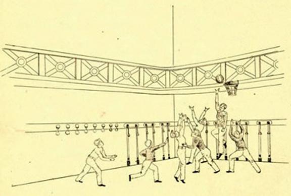 Old drawn image of kids playing original basketball game