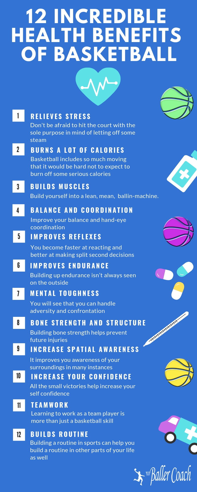 12 health benefits of basketball infographic