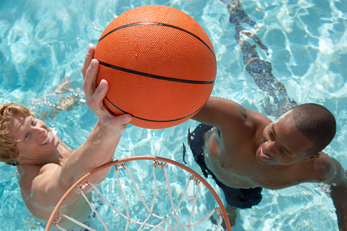 Rubber type of basketball in water