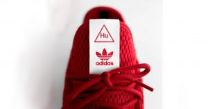 red and white adidas shoe tag